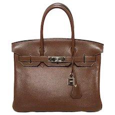 Hermes Brown Cacao Clemence Leather 30cm Birkin Bag
