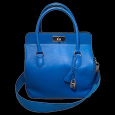 Hermes 26cm Toolbox Bag Hydra Blue Swift Calf Leather