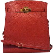 Hermes Vintage Rouge Clemence Leather Kelly Sport Shoulder Bag