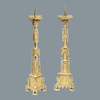 Pair of Gothic Style Candlesticks
