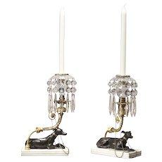 Regency Greyhound Candlesticks