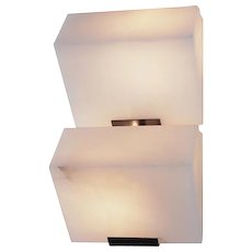 """Pierre Chareau reedition double """"Sloping block"""" 7.3'' sconce"""