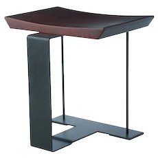 Pierre Chareau reedition wood & metal stool