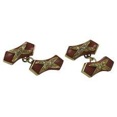 Coral & Diamond 18K Yellow Gold Cufflinks