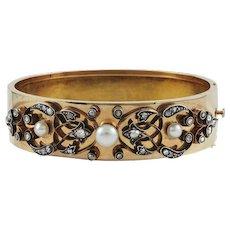 Diamond & Pearl 18K Rose Gold Victorian Bracelet