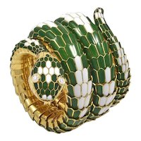 Bvlgari Diamond Green and White Enamel Serpenti Watch
