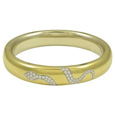 Pomellato Diamond & 18K Yellow Gold Snake Bracelet