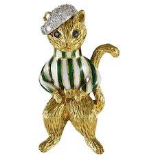Tiffany Diamond & Enamel 18K Yellow Gold Cat Brooch