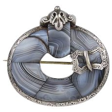 Grey Agate Sterling Silver Scottish Brooch