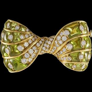 Bvlgari Peridot & Diamond 18K Yellow Gold Bow Brooch