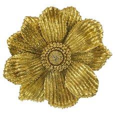 Rebecca Koven 18K Yellow Gold Flower Brooch