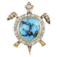 Diamond & Turquoise Turtle Brooch