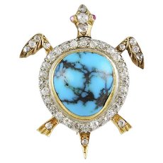 Diamond & Turquoise Turtle Brooch