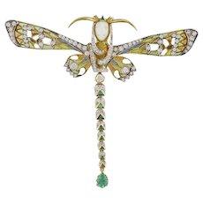 Masriera Diamond & Emerald Plique DragonFly Brooch