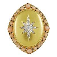 Coral & Diamond Victorian Pendant Brooch