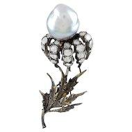 Buccellati Rose Diamond & Gray Tahitian Pearl 18K Brooch