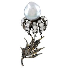 Buccellati Rose Diamond & Gray Tahitian Pearl 18K Brooch