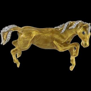 Tiffany Diamond, Sapphire & Enamel 18K Yellow Gold Horse Brooch