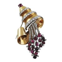 Diamond & Ruby 18K Yellow Gold Cornucopia Brooch
