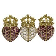 Kieselstein-Cord Ruby & Diamond 18K Green Gold Triple Heart Brooch