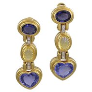 Bvlgari Blue & Yellow Sapphire 18K Yellow Gold Drop Earrings