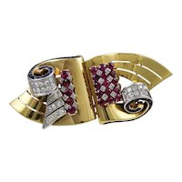 Diamond, Sapphire & Ruby 18K Yellow Gold Retro Austrian Asymmetrical Brooch/Clips