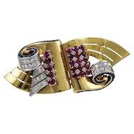 Diamond, Sapphire & Ruby 18K Yellow Gold Retro Austrian Asymmetrical Brooch/Clips
