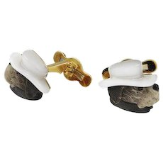 Chalcedony & 18K Yellow Gold Dog Cuff Links