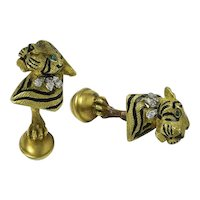 Tiffany Diamond, Enamel & 18K Yellow Gold Tiger Cufflinks