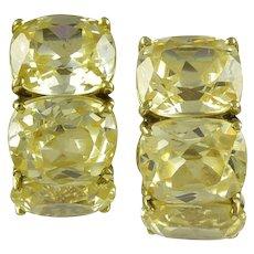 Canary Quartz 18K Yellow Gold Earrings