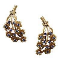 Sapp. & 14K Yellow Gold Forget Me Knot Earrings