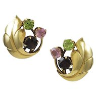 Amethyst & Tourmaline Retro Yellow Gold Earrings