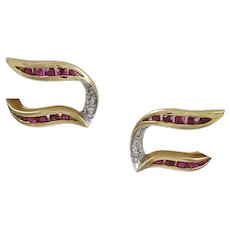 Ruby & Diamond 14K Yellow Gold Earrings