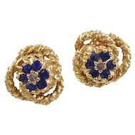 Sapphire & 14K Yellow Gold Earrings
