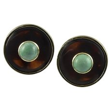 Cartier/A. Cipullo Tortoise & Turquoise 18K Yellow Gold Earrings