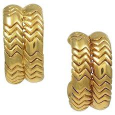 Bvlgari Double Hoop 18K Yellow Gold Earrings