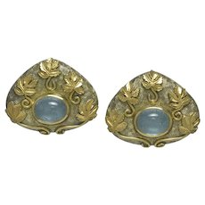 Gage Aquamarine & Enamel 18K Yellow Gold Earrings