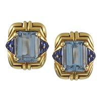 Bvlgari Aquamarine & Sapphire 18K Yellow Gold Earrings