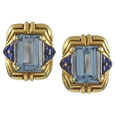 Bvlgari Aquamarine & Sapphire 18K Yellow Gold Earrings