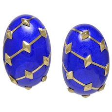 Schlumberger Dark Blue Enamel 18K Yellow Gold Banana Earrings