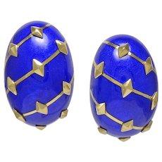 Schlumberger Dark Blue Enamel 18K Yellow Gold Banana Earrings