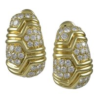 Bvlgari Diamond & 18K Yellow Gold Earrings