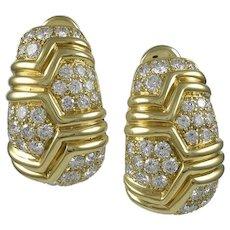Bvlgari Diamond & 18K Yellow Gold Earrings