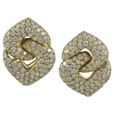 """Bvlgari Diamond """"Doppio Cuore"""" 18K Yellow Gold Earrings"""