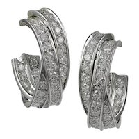 "Cartier Diamond ""Trinity"" 18K White Gold Earrings"