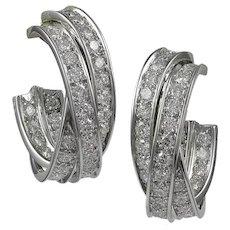 "Cartier Diamond ""Trinity"" 18K White Gold Earrings"