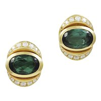 Marina B Green Tourmaline & Diamond 18K Yellow Gold Earrings