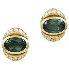 Marina B Green Tourmaline & Diamond 18K Yellow Gold Earrings