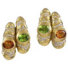 Marina B Diamond & Multi Gemset 18K Yellow Gold Earrings