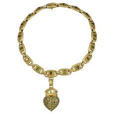 Kieselstein-Cord Green Tourmaline 18K Green Gold Pompei Necklace with Green Tourmaline 18K Green Gold Heart Brooch/Pendant.